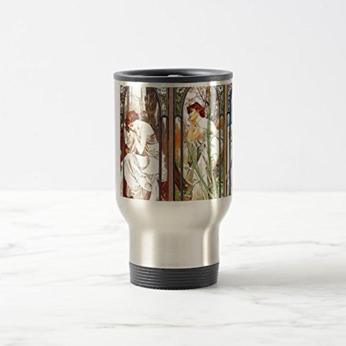 Feddiy Stainless steel 14 Ounces coffee mug Creative Gifts travel cup-Art Nouveau Windows Stainless Steel 14 oz