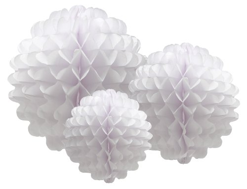 Party Partners Design Hanging Honeycomb Tissue White Pom-Pom Decoration Balls, Set of 3 (Tissue Paper Balls)