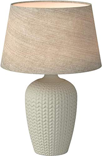 Amazon Brand – Stone & Beam Knit Pattern Ceramic Living Room Table Desk Lamp With LED Light Bulb - 18 x 24 Inches, White