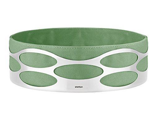 Bread Basket Cotton Bag and Stainless Steel, Green, Embrace Basket by Stelton