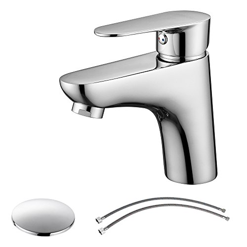Single Handle Bathroom Faucet with Sink Drain Assembly & cUPC Faucet Supply Lines, Chrome, 14142