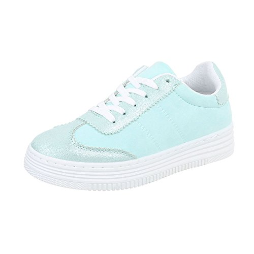 Ital-Design Chaussures Femme Baskets Mode Plat Sneakers Espadrilles Low Turquoise R-223 75gWd5B