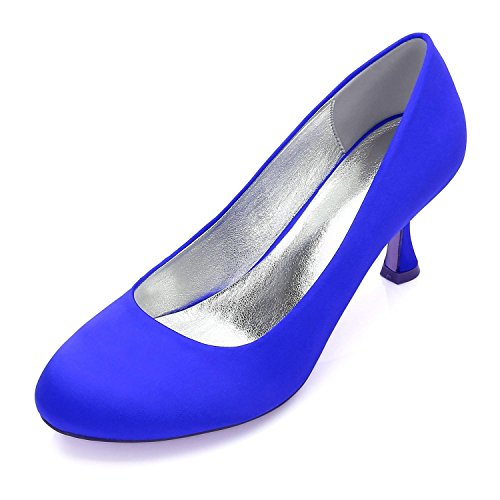 L@YC Boda de Las Mujeres 17061-25 Peep Toe Clips Bombas Zapatos de La Corte Zapatos de La Boda Zapatos de Novia de La Boda Blue