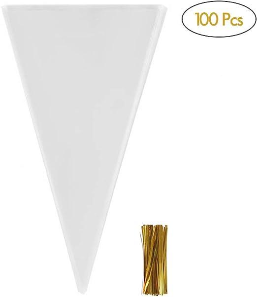 Amazon.com: 100 bolsas de plástico transparente con forma de ...