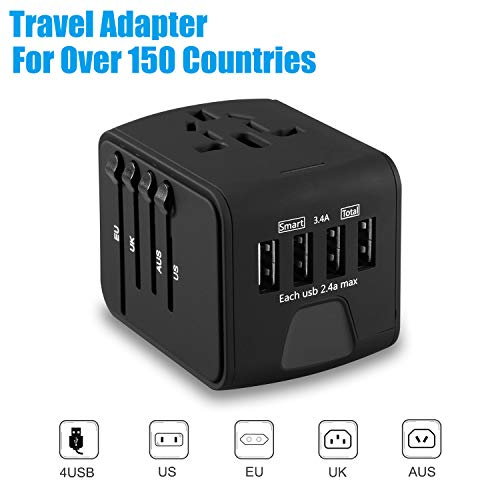 Travel Adapter, Worldwide All in 1 Universal Adapter Wall AC