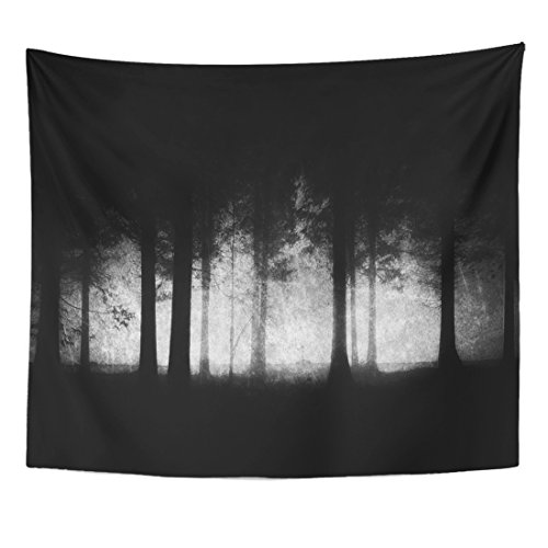 TOMPOP Tapestry Spooky Dark and Scary Forest Grungy Woods Black Creepy Home Decor Wall Hanging for Living Room Bedroom Dorm 50x60 Inches
