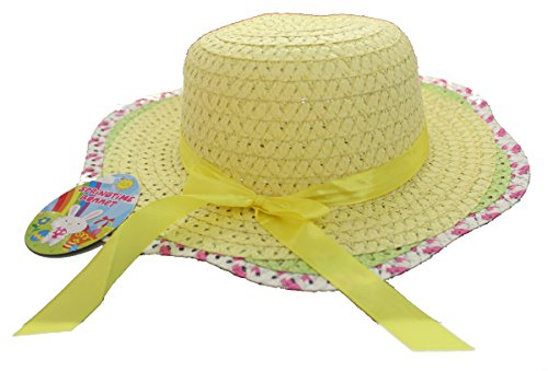 Springtime 3 Girls 3 1 X Childrens Woven Summer Bonnet Hat One Size Multicolour (Yellow Bonnet)