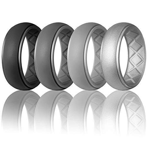 - Egnaro Silicone Wedding Ring for Men, Particularly Breathable Mens' Rubber Wedding Bands, Size 8 9 10 11 12 13, for Athletes Crossfit Workout