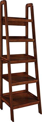 Altra Furniture Platform Wood Veneer Ladder Bookcase, Mahogany (Rustic Mahogany)