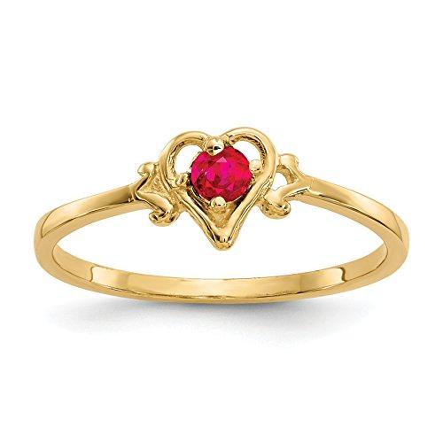 Brilliant Bijou Women's 14k Yellow Gold Ruby Birthstone Heart Ring - Polished Finish Size 7