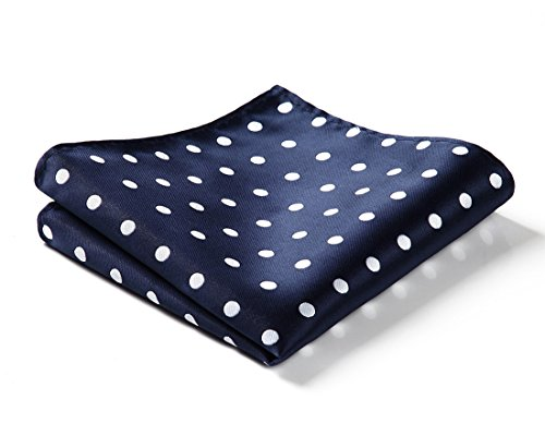 (HISDERN Men's Polka Dot Wedding Party Pocket Square Handkerchief Navy Blue/White)