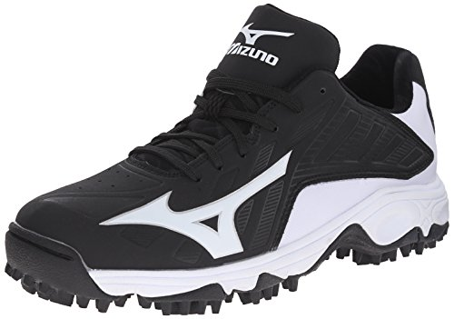 Mizuno Men's 9 Spike Advanced Erupt 3 Softball Cleat, Black/White, 12 M (Lightweight Softball Cleats)