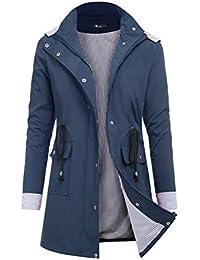 Women's Raincoats Windbreaker Rain Jacket Waterproof Lightweight Outdoor Hooded Trench Coats