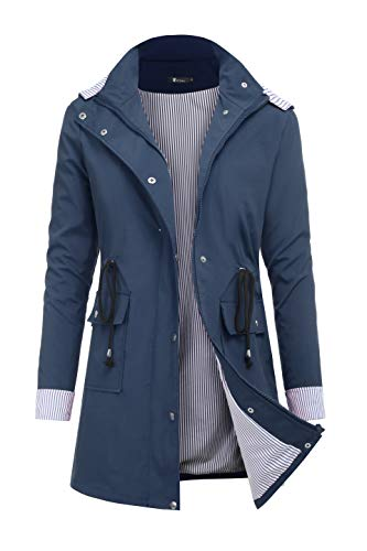 RAGEMALL Women's Raincoats Windbreaker Rain Jacket Waterproof Lightweight Outdoor Hooded Trench Coats navyblue m