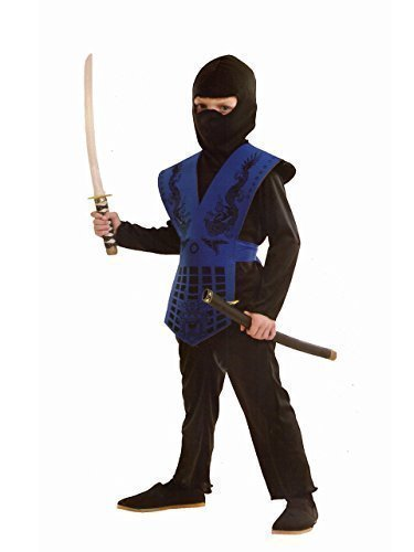 [Kids Mortal Combat Ninja Costume Sub Zero Fancy Dress Streetfighter by Rubber Johnnies TM] (Sub Zero Costumes)