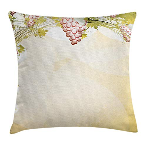 Ambesonne Grapes Home Decor Throw Pillow Cushion Cover by, Grapevine Pattern in Dark Sepia Colors French Village Large Branches Region, Decorative Square Accent Pillow Case, 18 X 18 Inches, -