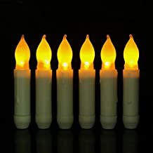 Micandle Set of 12 Yellow Mini Battery Operated Wax Dipped White Body LED Taper Candles, Flameless Taper Candles for Wedding, Halloween, -Batteries Not Included -(Amber Flickering Short Light Bulbs)