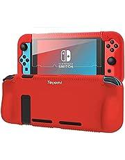 Teyomi capa de silicone protetora para Nintendo Switch, capa de aperto com protetor de tela de vidro temperado, 2 slots de armazenamento para cartões de jogo, absorção de choque e anti-riscos (vermelho)
