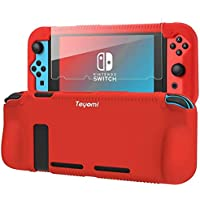Teyomi capa de silicone protetora para Nintendo Switch, capa de aperto com protetor de tela de vidro temperado, 2 slots…
