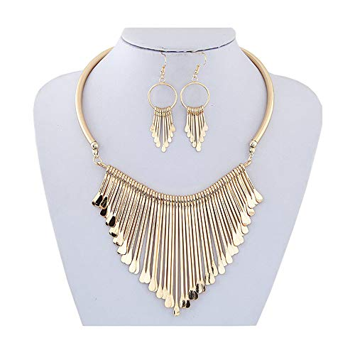 Juland Statement Bib Necklace with Golden Metal Fringe Drop Choker Necklace Earrings Set Fashion Bohemian Punk Ethnic Style for Women and Girls (Bib Drop Necklace)