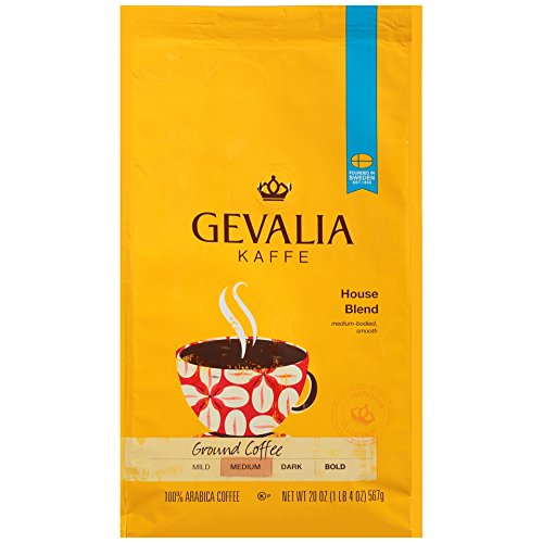 GEVALIA House Blend Coffee, Medium Roast, Ground, 20 Ounce