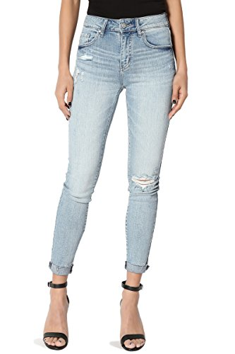 (TheMogan Women's Distressed Knee High Waist Raw Cuffed Crop Skinny Jeans Light 11)