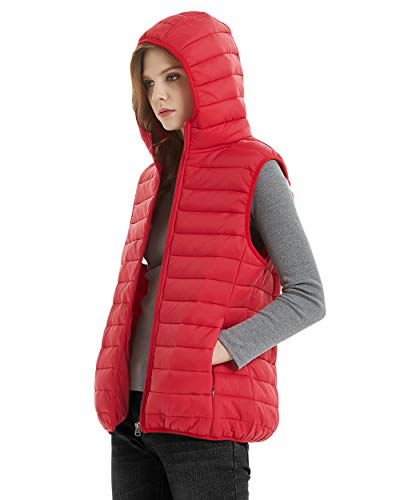 SUNDAY ROSE Sleeveless Jacket Womens Lightweight Packable Puffer Down Vest Jacke Hooded Red - Size L