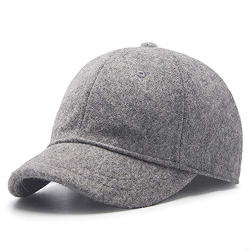 Winter Men Sport Running Hat,56-59cm Adjustable Baseball Cap Fashion Sporting Goods Hat for Dad Unisex Novelty Baseball Hat with Wool Apparel Fabric and Polyester,5cm Short Brim Light Gray