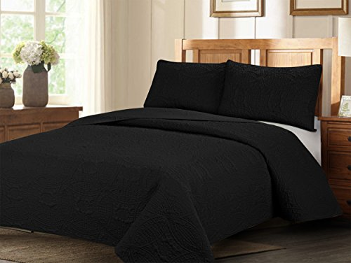Natural Life Home Extra Oversized 3-pc Bedspread Set with Geometry Pattern (Queen, Black)