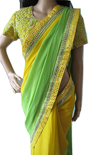 Elegant Attire Bollywood Inspired Yellow and Green Shaded Saree with Ready Blouse