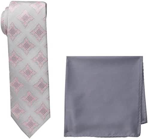 Steve Harvey Men's Tall Extra Long Medallion Necktie and Solid Pocket Square