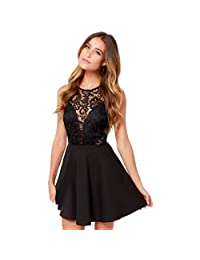 Sumen Women Summer Casual Backless Prom Cocktail Lace Short Mini Dress