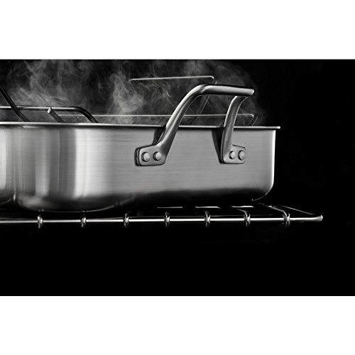 """41VHzsdqBbL - Calphalon 1948245 Signature Stainless Steel Roaster Pan with Rack, 16"""", Silver"""