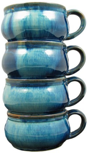 Set Of (4) Four - PRADO STONEWARE COLLECTION - Stacking / Stackable Soup, Chili, Stews Cups / Mugs / Bowls - Royal Blue by Creative Structures