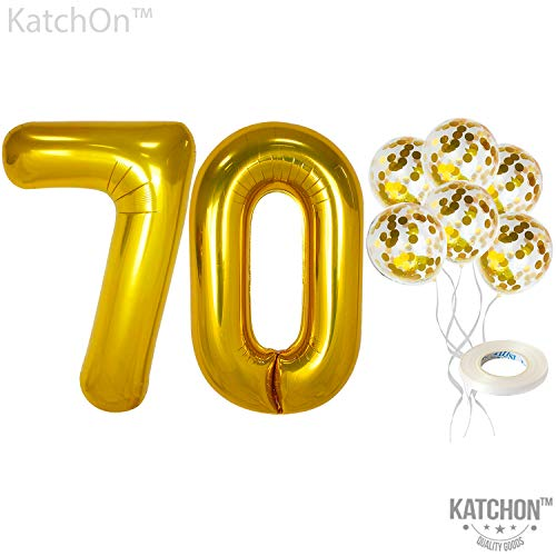 Number 70 and Gold Confetti Balloons - Large, Pack of 7 | Gold Confetti Latex Balloons Party Decorations Backdrop | Great for Party Supplies Kit for 70th Birthday, Anniversary, Home Office D