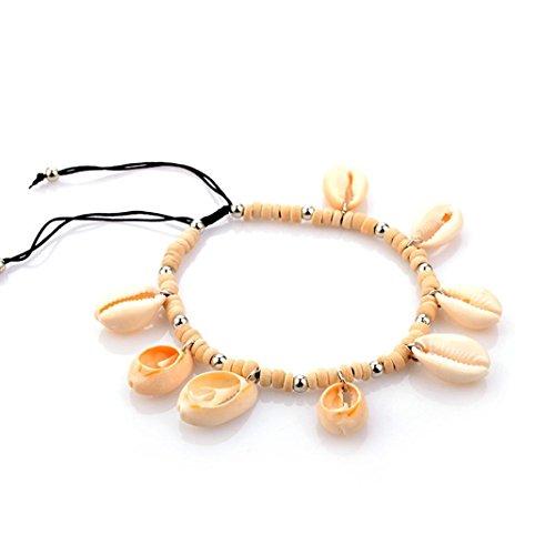 Clearance ! Foot Anklet Bracelets for Women,Vanvler Summer Beach Anklets -Cowrie Shells Jewelry Sea Anklet Adjustable (Beige)