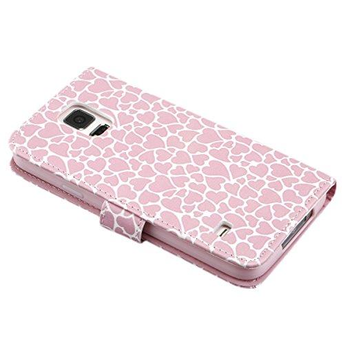 Ukayfe Flip funda de cuero PU para Samsung Galaxy S5, Leather Wallet Case Cover Skin Shell Carcasa Funda para Samsung Galaxy S5 con Pintado Patrón Diseño, Cubierta de la caja Funda protectora de cuero líneas de amor