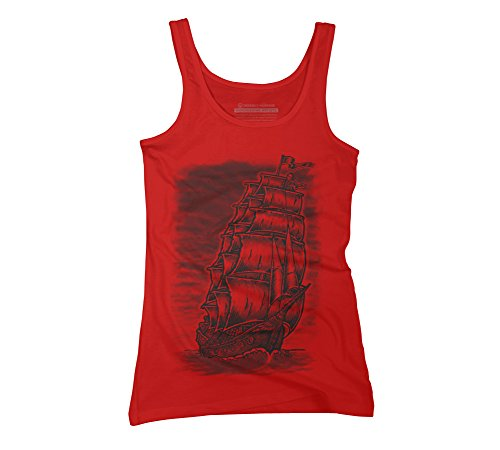 Design By Humans Caleuche Ghost Pirate Ship - Blackline Juniors' Large Red Graphic Tank -