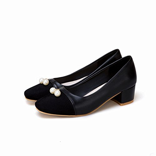 Charm Foot Womens Fashion Comfort Chunky Mid Heel Pump Shoes Nero