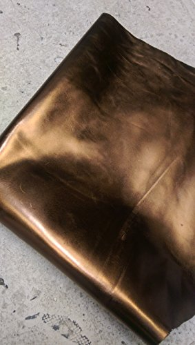 NAT Leathers Bronze Foil Metallic Smooth Handbag Strap Seating Upholstery 16-20 sq.ft. Shoe Cowhide Genuine Leather Hide Skin (Full skin 16-20 sq.ft)