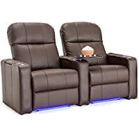 Seatcraft Venetian Bonded Leather Home Theater Seating Manual Recline with In-Arm Storage, Lighted Cup Holders and Base (Row of 2, Brown)