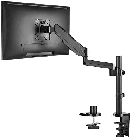 WALI Premium Single LCD Monitor Desk Mount Fully Adjustable Gas Spring Stand for One Screen approximately 32 inch, 17.6lbs Weight Capacity (GSDM001), Black