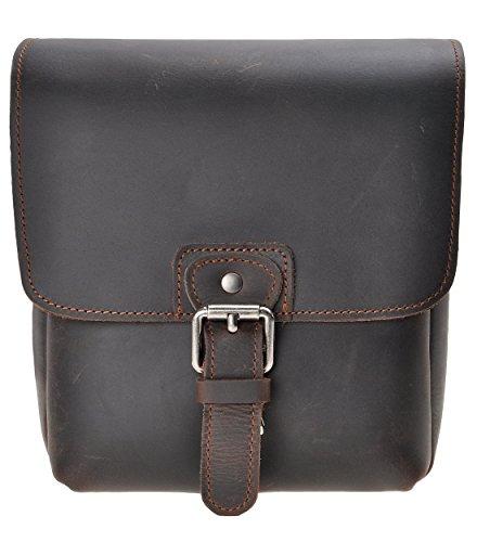 Small Leather Digital Camera Case - Small Leather Camera Bag ZLYC Vintage DSLR Bag Removable Shockproof Padded Camera Case Unisex Messenger Shoulder Bag Satchel, Dark Brown
