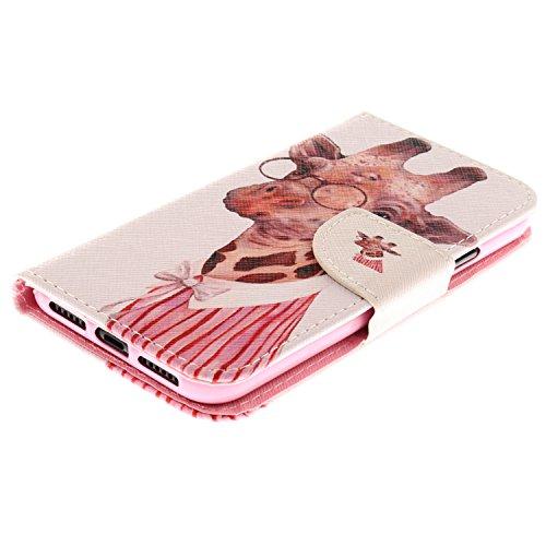 iPhone X Hülle Gläser Giraffe PU Leder Wallet Handytasche Flip Etui Schutz Tasche mit Integrierten Card Kartensteckplätzen und Ständer Funktion Für Apple iPhone X / iPhone 10 (2017) 5.8 Zoll + Zwei Ge