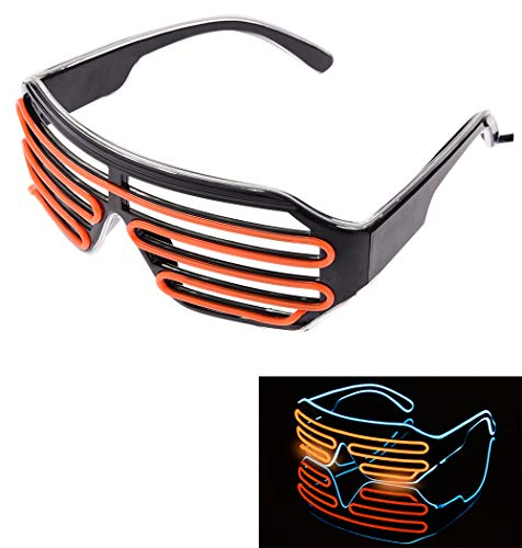 (Neon Flashing Light LED Party Sunglasses Shutter Shades Retro Hip Hop Cyberpunk Design (Neon Blue and)