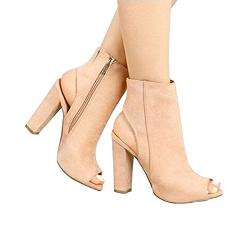 Open Suede Heels Ankle Heel Chunky Platform Beige Toe Booties Women Boots High VFDB aC6pYwqn