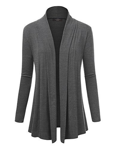 Made By Johnny WSK1301 Womens Open Draped Knit Shawl Cardigan S Heather_Charcoal