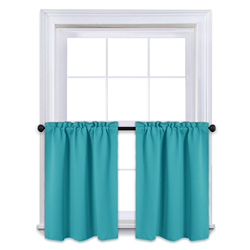 NICETOWN Thermal Insulated Blackout Window Valances - Energy Efficient Home Decor Tier Curtains for Bedroom (29 by 24 Inches, Turquoise, 2 (French Pleated Drapes)