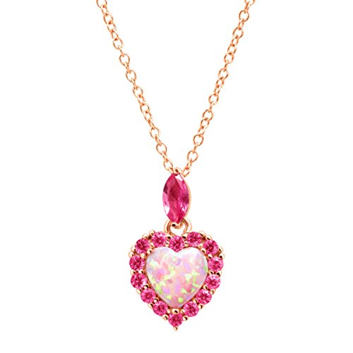 - 1 ct Created Opal & Pink Sapphire Heart Pendant Necklace in 18K Rose Gold-Plated Sterling Silver