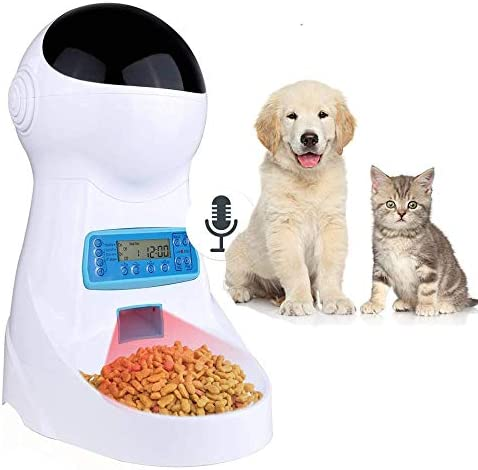 Sailnovo Automatic Cat Feeder Pet Feeder Food Dispenser with Timer Programmable Voice Recorder and Portion Control, 4L Auto Pet Feeder for Cats Dogs